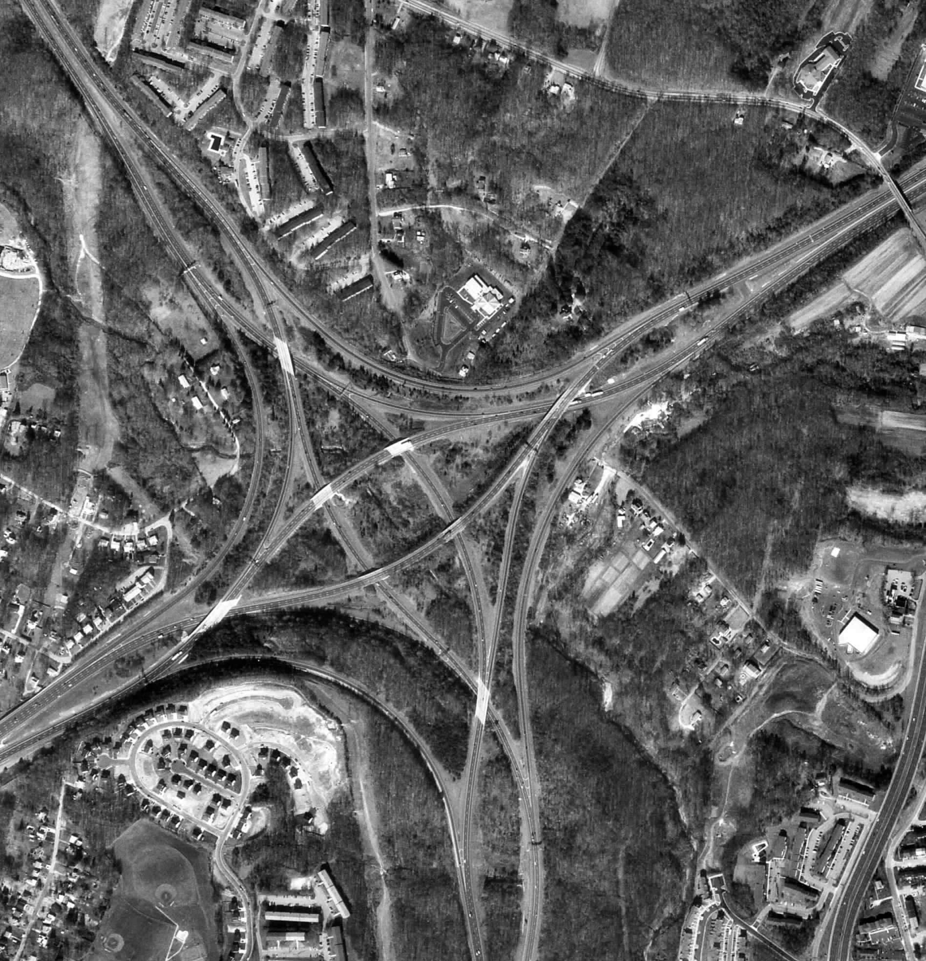 Map analysis black and white aerial photo of an interchange